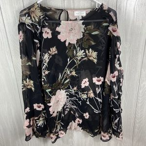Lucky Brand Black Floral Blouse Size 2X